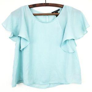 ✅ Baby Blue Flutter Sleeve Bohemian Crop Top S